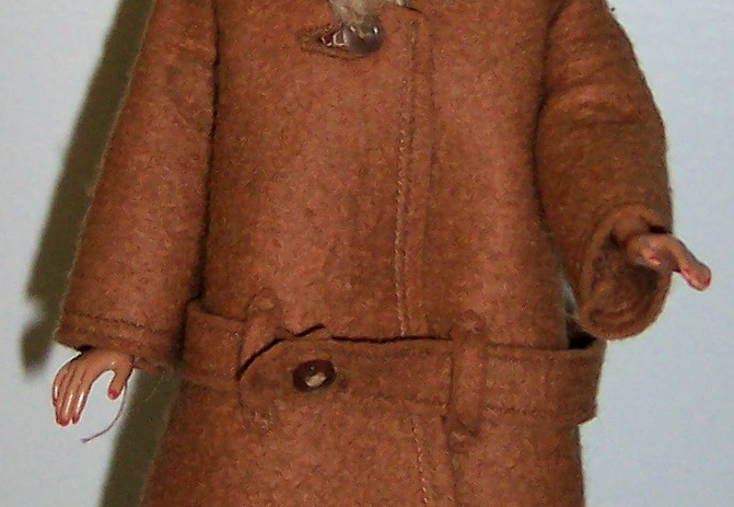 "Vintage Barbie® dressed in ""It's Cold Outside"" hat and coat ensemble – Rhonda Hill's collection., EDGExpo.com"