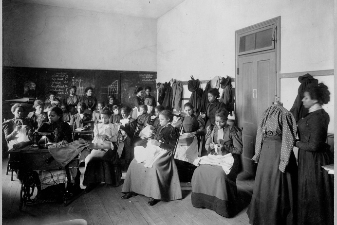 Sewing Class Howard University, Washington D.C., ca.1900, Exhibit of American Negroes, 1900 Paris Exposition, Library of Congress
