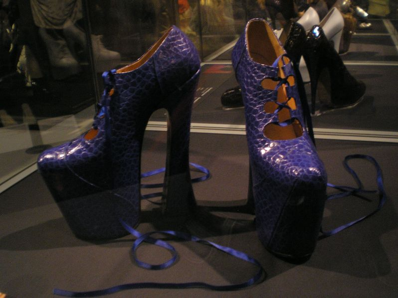 The pair of heels designed by Westwood in which Naomi Campbell famously stumbled while modelling at Westwood's fashion show in 1993.