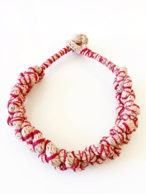 17 Houdini Necklace Beige-Red Rope (L)