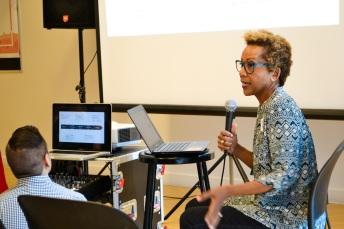 Rhonda P. Hill Speaking at Art Institute of California Fashion Symposium, photo: Cindy Ceballos