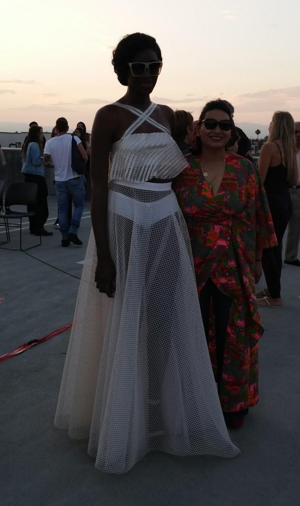 Designer, Alena Sablan, with model