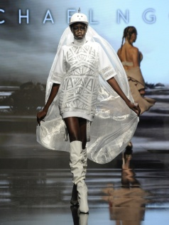LOS ANGELES, CA - OCTOBER 09: A model walks the runway wearing Michael NGO at Art Hearts Fashion Los Angeles Fashion Week presented by AIDS Healthcare Foundation on October 9, 2016 in Los Angeles, California. (Photo by Arun Nevader/Getty Images for Art Hearts Fashion)