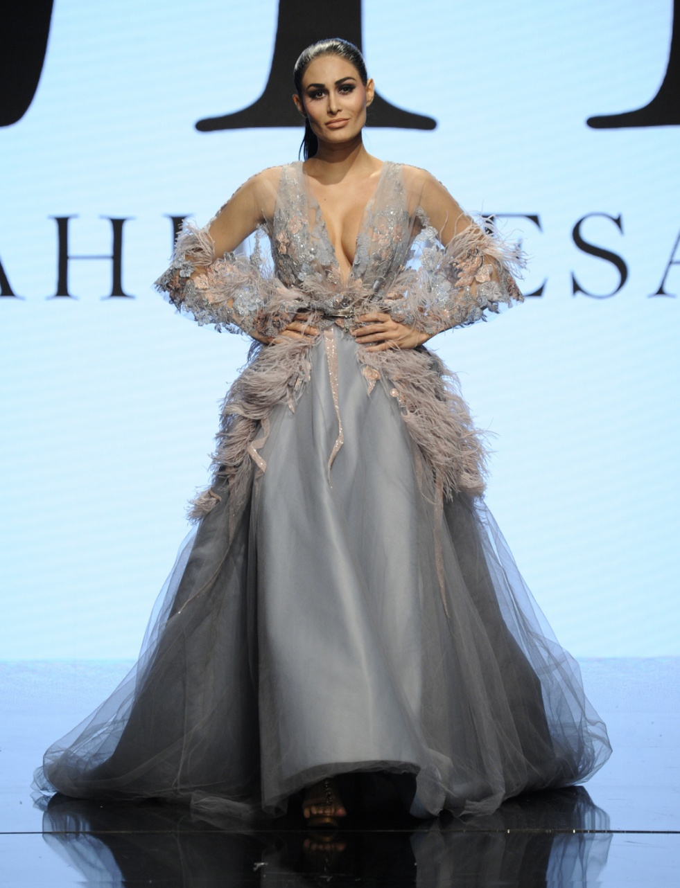LOS ANGELES, CA - OCTOBER 09: A model walks the runway wearing Rahil Hasan at Art Hearts Fashion Los Angeles Fashion Week presented by AIDS Healthcare Foundation on October 9, 2016 in Los Angeles, California. (Photo by Arun Nevader/Getty Images for Art Hearts Fashion)
