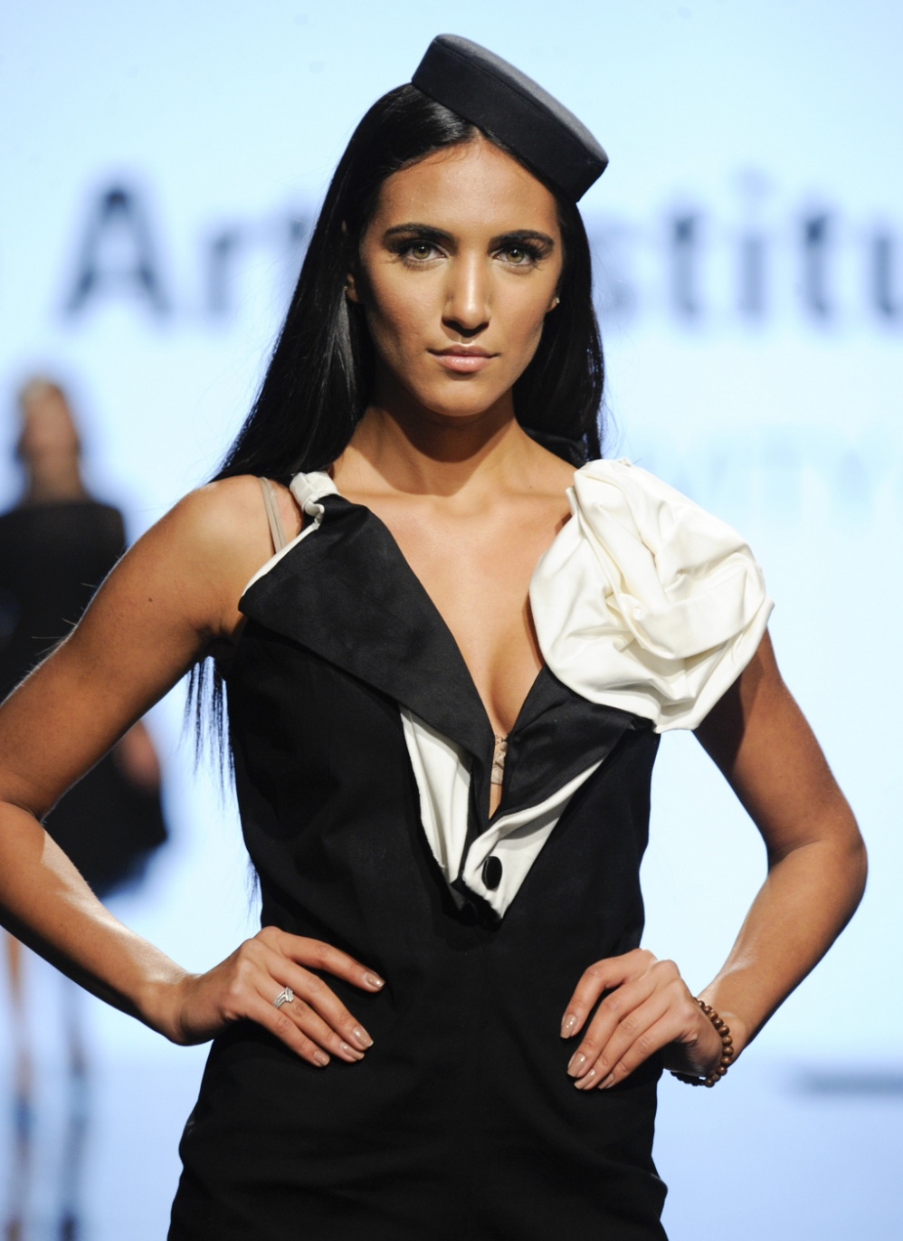 LOS ANGELES, CA - OCTOBER 12: A model walks the runway wearing Rosee Matos at Art Hearts Fashion Los Angeles Fashion The Art Institutes Showcase on October 12, 2016 in Los Angeles, California. (Photo by Arun Nevader/Getty Images for Art Hearts Fashion)