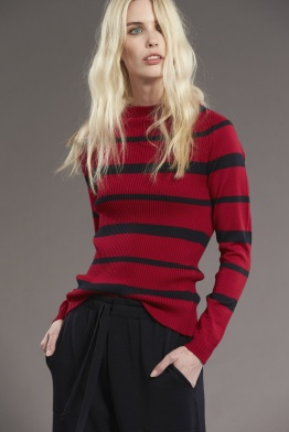 Standard Issue_Rib Stripe Sweater_Garnet Navy-001