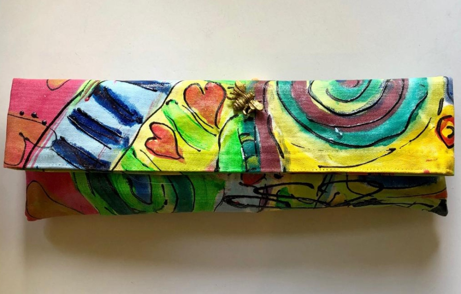 Susan Tancer Studios_Blue Stripe Graffiti Clutch with Bee