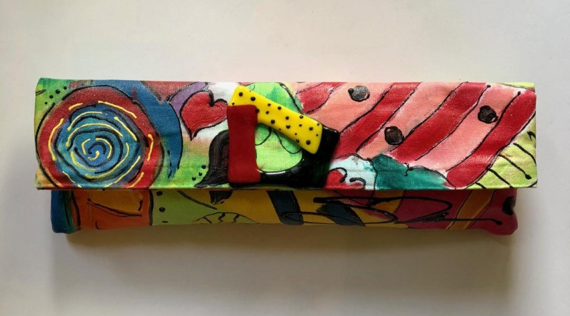 Susan Tancer Studios_Painted Fused Glass Graffiti Clutch