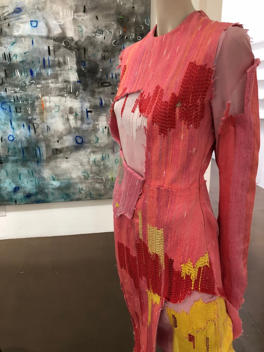 curated by Rhonda P. Hill, Blurred Boundaries Fashion as an Art exhibit, Tingyue Jiang, designer, Erik ReeL painting, GraySpace Gallery, Santa Barbara, photo Charlene Broudy