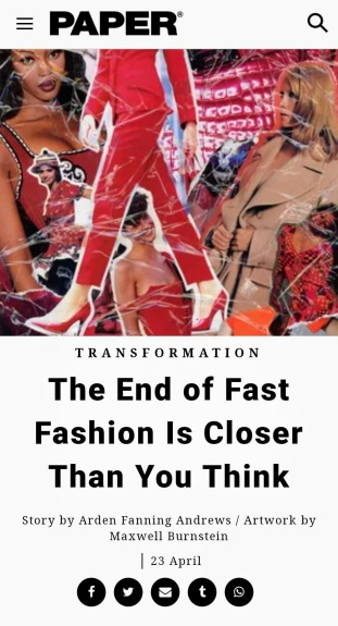 """PAPER Magazine highlights Rhonda P. Hill's first-hand knowledge - """"The End of Fast Fashion is Closer Than You Think"""" 