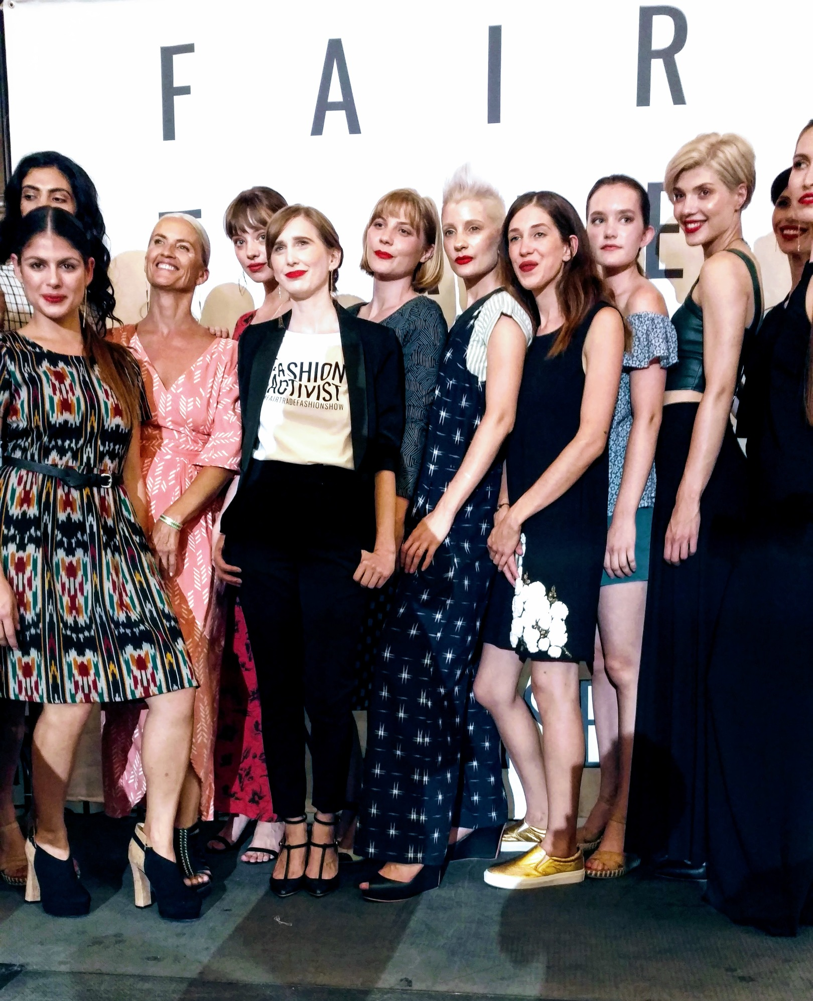 Fair Trade Fashion Show, Los Angeles 2017, Post Show with models and founder Sica Schmitz, photo Rhonda P. Hill