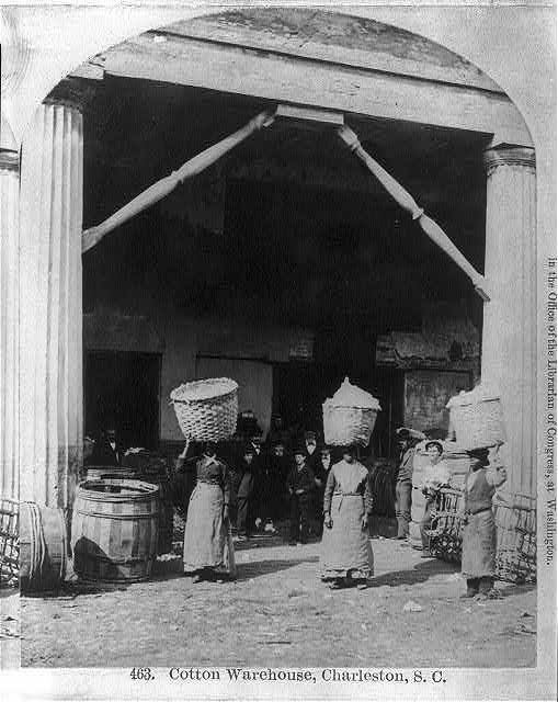 """Cotton Warehouse, Carrying Cotton,"" Charleston, South Carolina, ca. 1879, courtesy of the Library of Congress, Prints and Photographs Division"