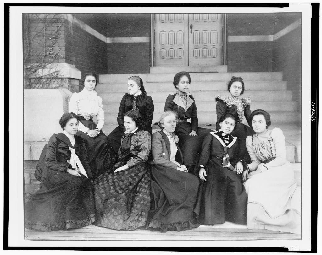 Nine African American women, full-length portrait, seated on steps of a building at Atlanta University, Georgia, 1899 or 1900, Exhibit of American Negroes, 1900 Paris Exposition, Library of Congress