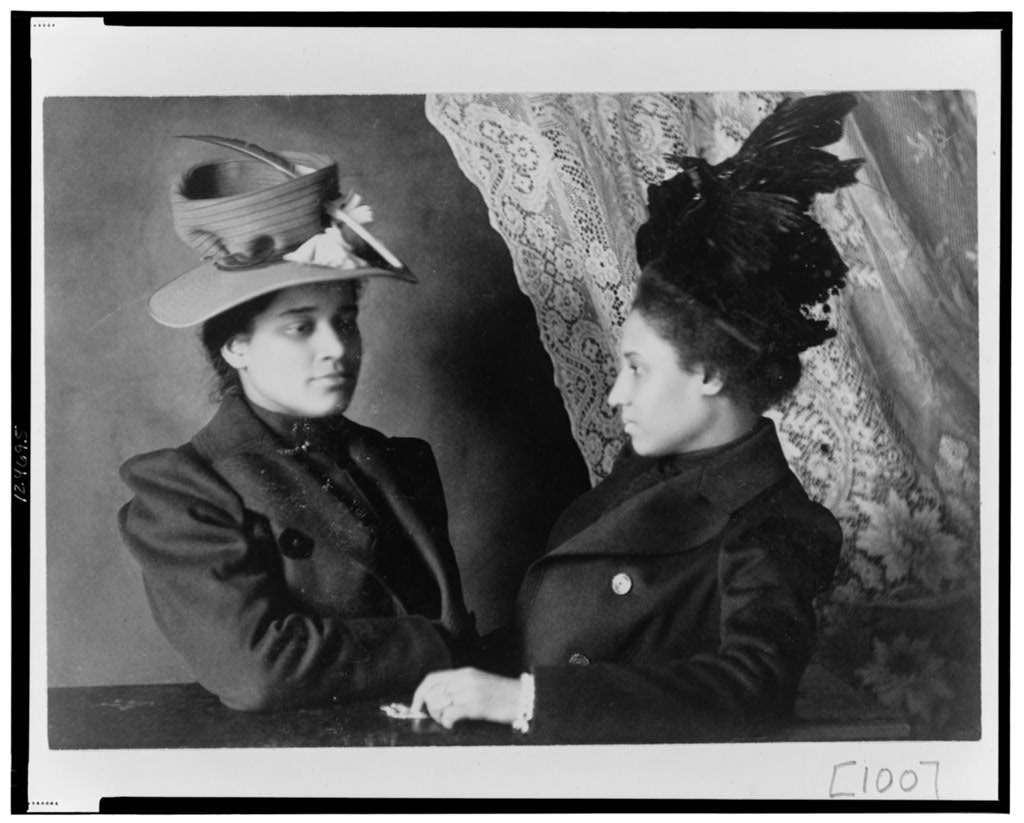 Two African American women from Georgia, half-length portrait illustrating class, clothing, and dress, 1899 or 1900, Exhibit of American Negroes, 1900 Paris Exposition, Library of Congress