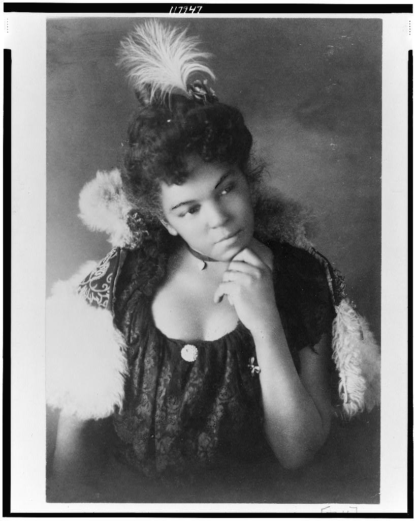 Young African American woman, half-length portrait, facing right, with left hand under chin