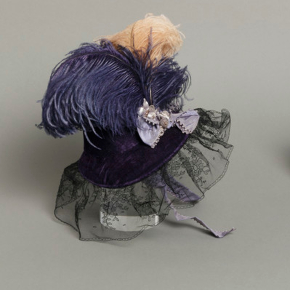 Mildred Blount miniature period hat; silk velvet with silk net, ostrich feathers, and silk plain weave (taffeta); 5 3/4 × 6 1/4 × 5 1/4 in. (14.61 × 15.88 × 13.34 cm); Gift of Marjorie St. Cyr (CR.75.2.6); courtesy of LACMA collections