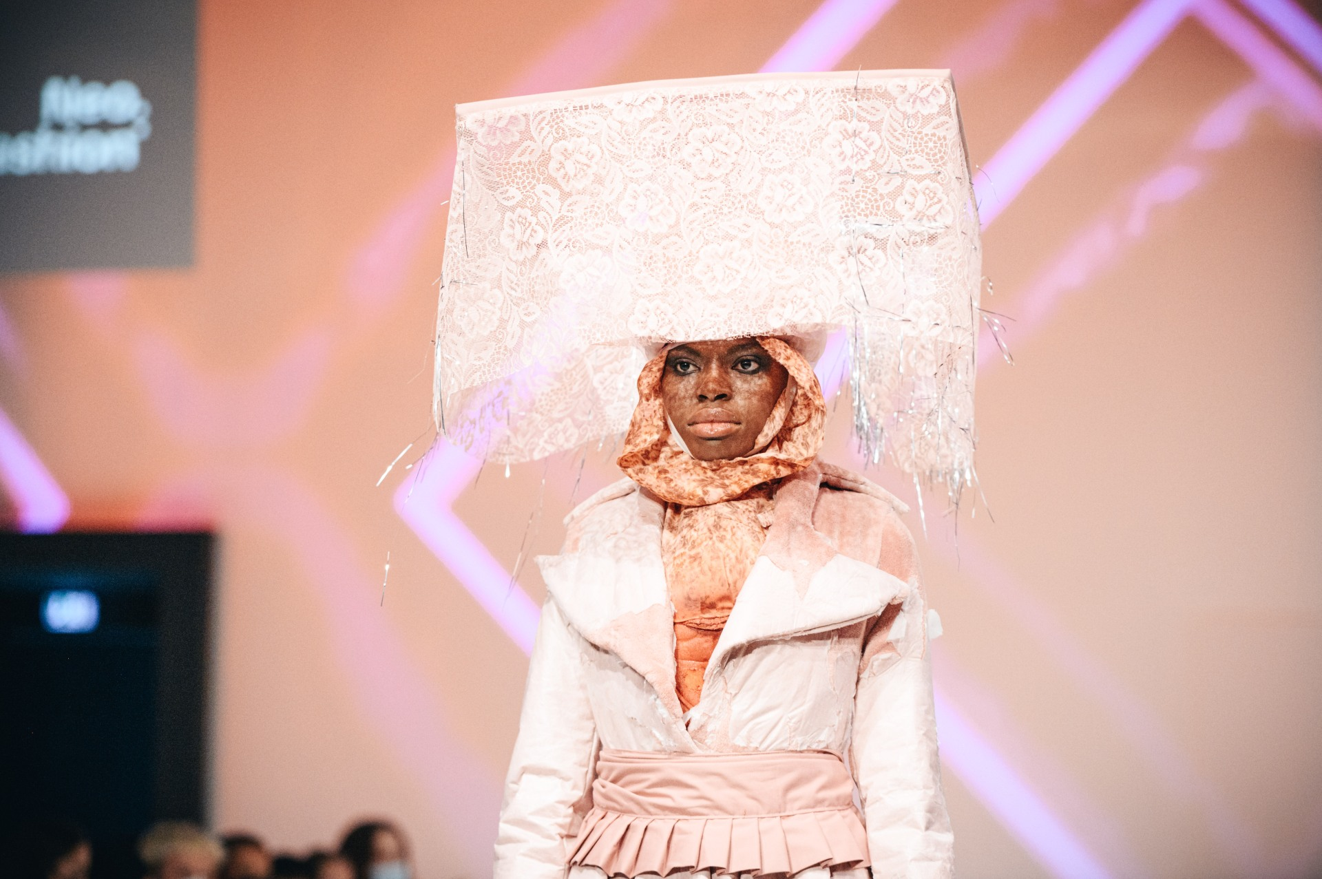 """BERLIN, GERMANY - SEPTEMBER 07: A model walks the runway during the """"Neo.Fashion. Graduate Show 7"""" of HS Pforzheim at the Mercedes-Benz Fashion Week Berlin September 2021 at Alte Muenze on September 7, 2021 in Berlin, Germany. (Photo by Robert Schlesinger/Getty Images for Neo.Fashion.)"""