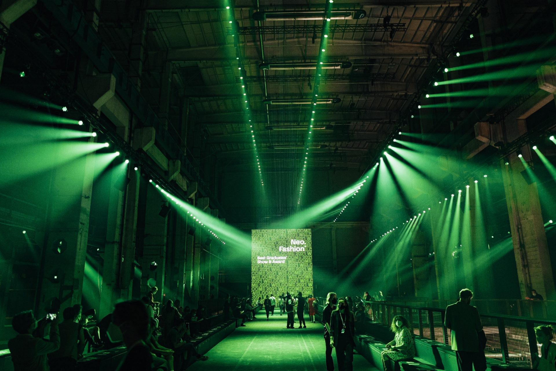 """BERLIN, GERMANY - SEPTEMBER 08: General view before the """"Neo.Fashion. Graduate Show"""" of Best Graduates Show & Award at Mercedes-Benz Fashion Week"""" at the Mercedes-Benz Fashion Week Berlin September 2021 at Kraftwerk on September 8, 2021 in Berlin, Germany. (Photo by Robert Schlesinger/Getty Images for Neo.Fashion.)"""